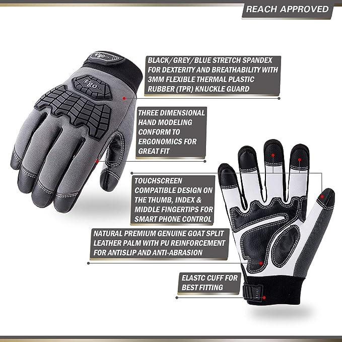 compatibili con touchscreen Vgo 3 Paia Guanti da lavoro per uomo in pelle di capra Premium L, 3 colori, GA9700 chiusura in velcro