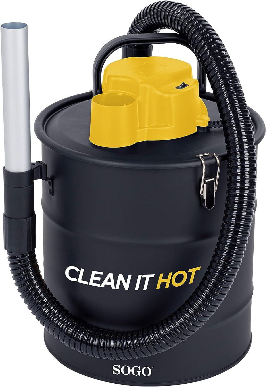 SOGO SS-16130 Aspirador de Ceniza y Soplador Para Encendido y Barrido de hojas, Aspiradora para Pellets, Chimeneas, Barbacoas, Estufas de Leña, Serrín, Cenizas - 1200W 20L - Color: Negro