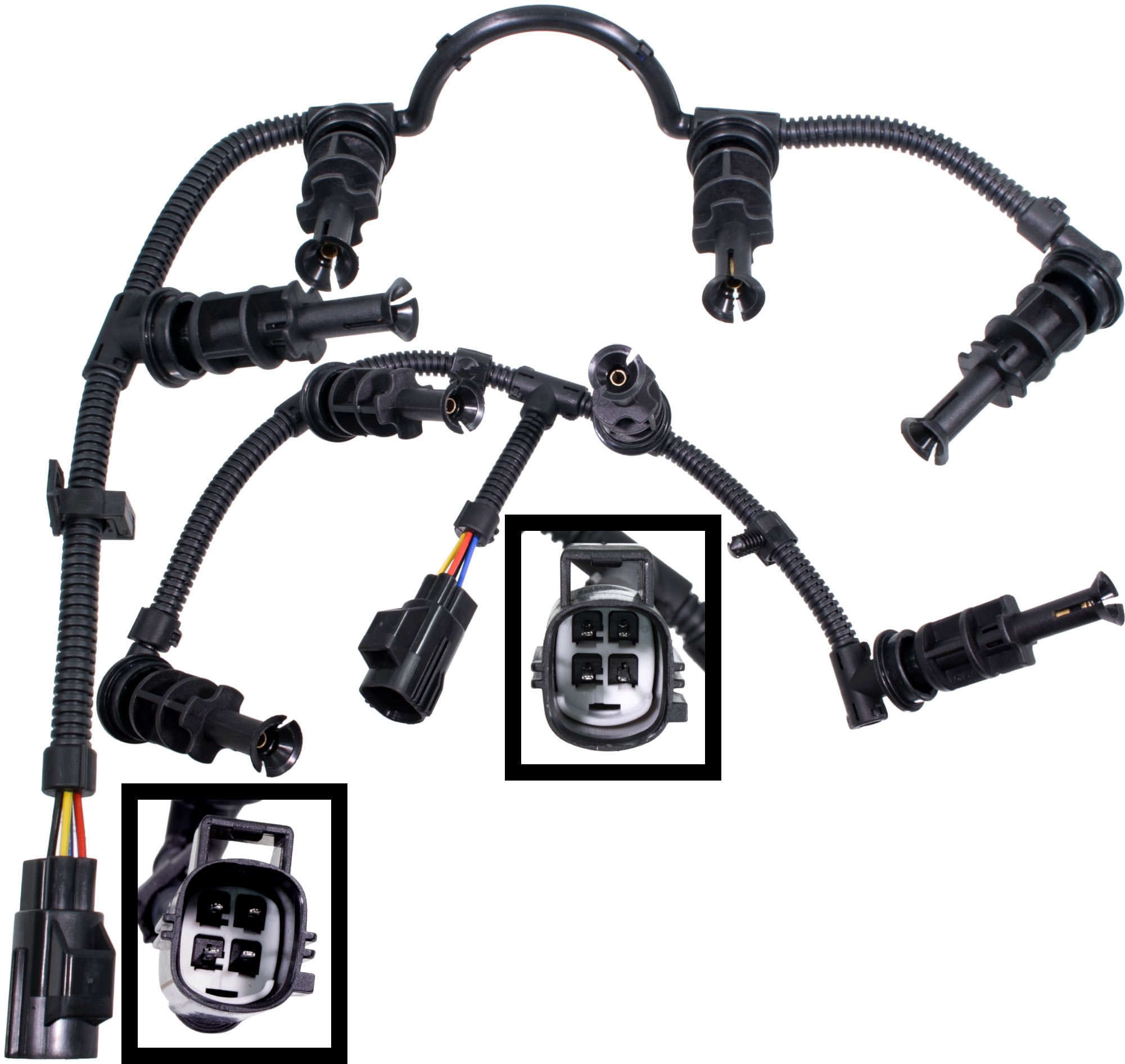 APDTY 133942 Glow Plug Wire Wiring Harness Left & Right Set Fits 2008-2010 Ford F250 F350 F450 F550 Super Duty 6.4L Diesel (Replaces 8C3Z-12A690-BA, 8C3Z-12A690-AA, 1876293C1 1876283C1)