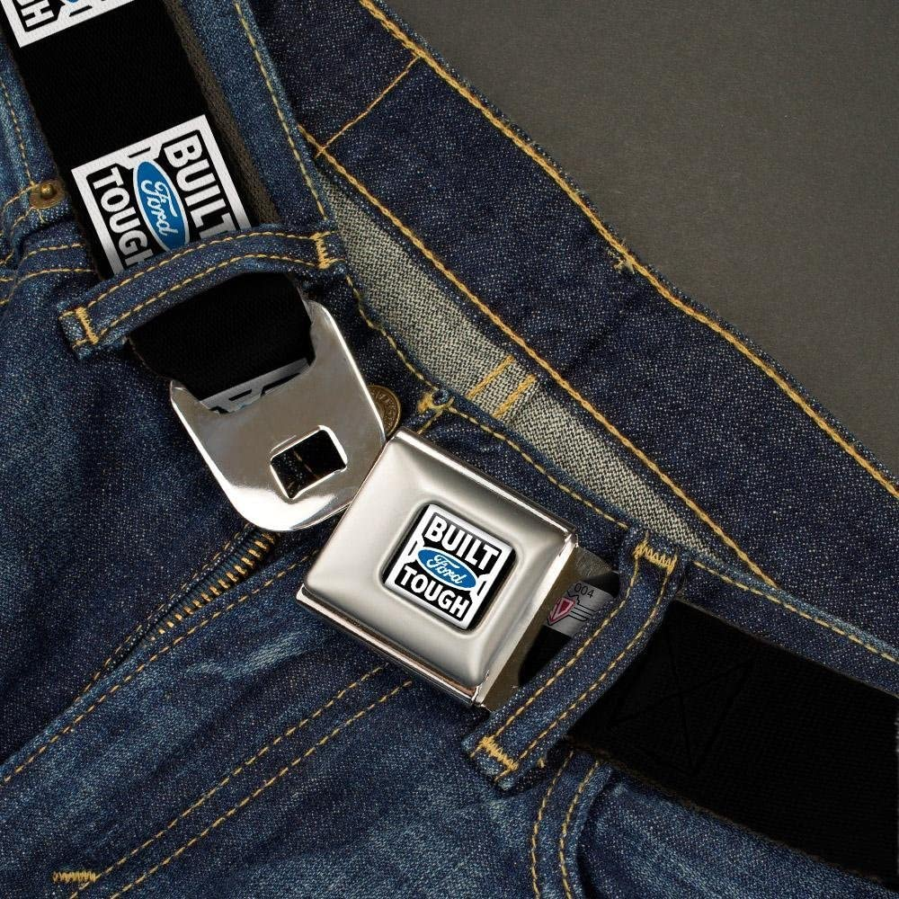 24-38 Inches in Length BUILT FORD TOUGH Logo2 Black//White//Blue Buckle-Down Seatbelt Belt 1.5 Wide
