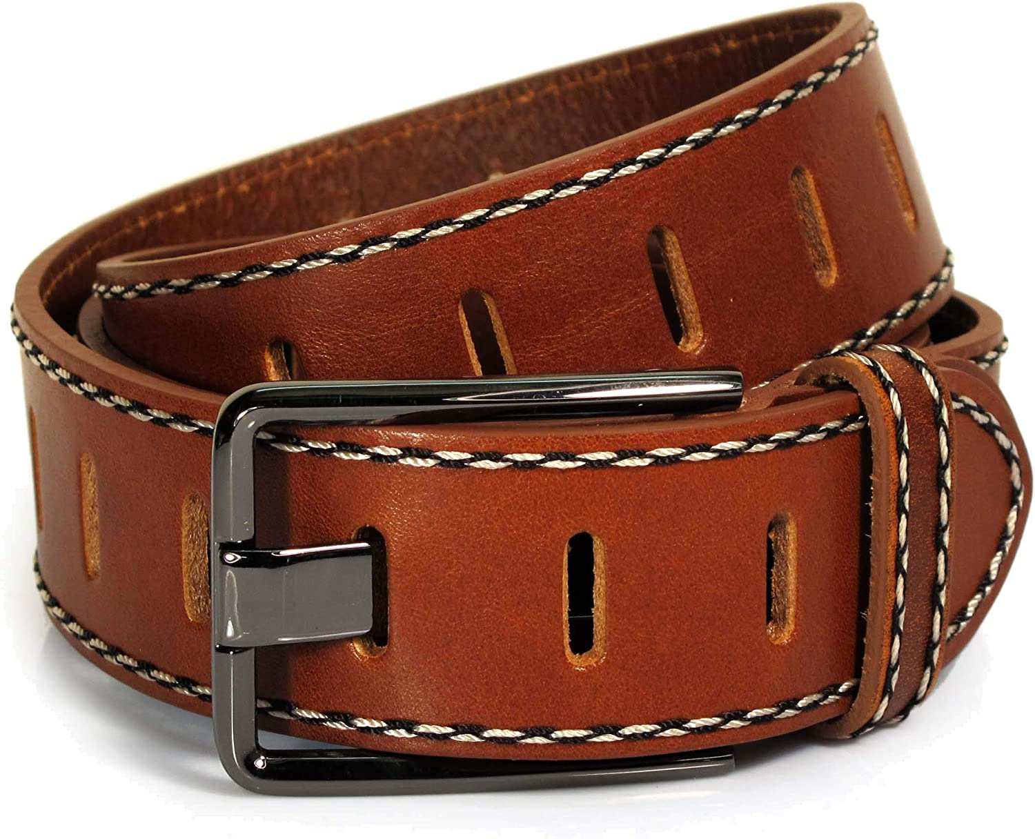 UM5 Mens Real Genuine Leather Tan Brown Belt 1.5 Wide S-L Thick Casual Jeans