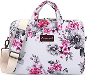 Canvaslove Chrysanthemum Pattern Water Resistant Laptop Shoulder Messenger Bag for MacBook Pro 16 inch and 14 inch 15.4 inch 15.6 inch Laptop