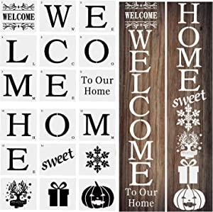 SAVITA 18Pcs 7.5 mil Welcome to Our Home Mylar Stencils for Painting on Wood, Christmas Reusable Sign Stencils for DIY Craft Writing on Door, Fabric, Home Decor-Letter Stencil Snowflake Gift Pumpkin