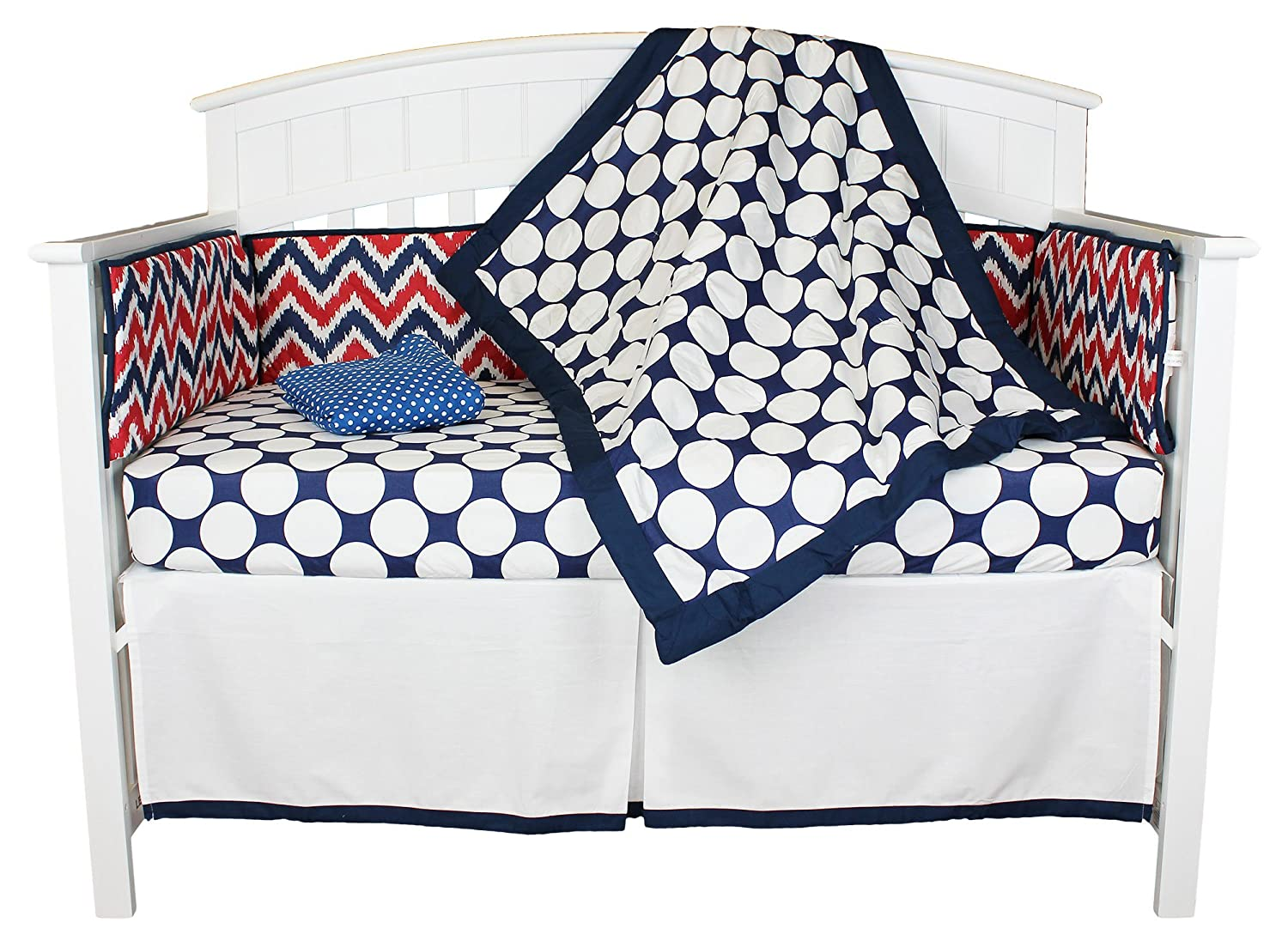 Red White and Blue Chevron and Dots 5 Piece Crib Bedding Set with Bumper by Bacati   B01B0S8COG