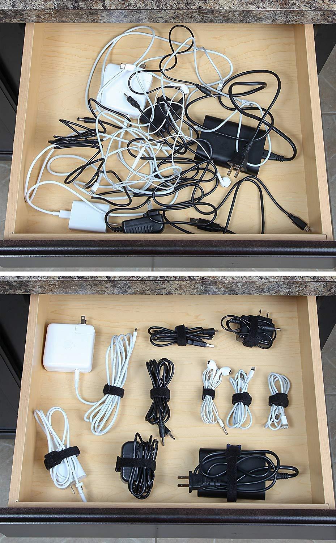 Cable Organizador Velcro Cables 3 Tama/ños Diferentes 70Pcs Ataduras de Cable Gancho Bucle Correas Reutilizables Cable Ties Cable Correas Set 70 Pieza
