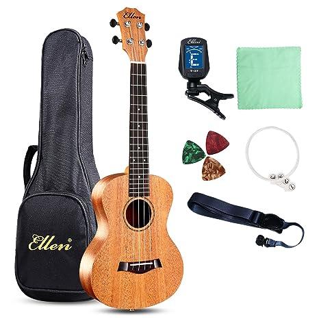 Ellen ukelele de concierto cuerdas 23 inch Profesional Madera de caoba guitarra hawaiana Kit de principiante
