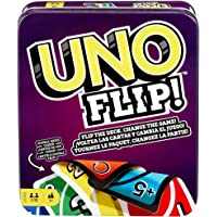 UNO FLIP! Family Card Game, with 112 Cards in a Sturdy Storage Tin, Makes a Great Gift for 7 Year Olds and Up