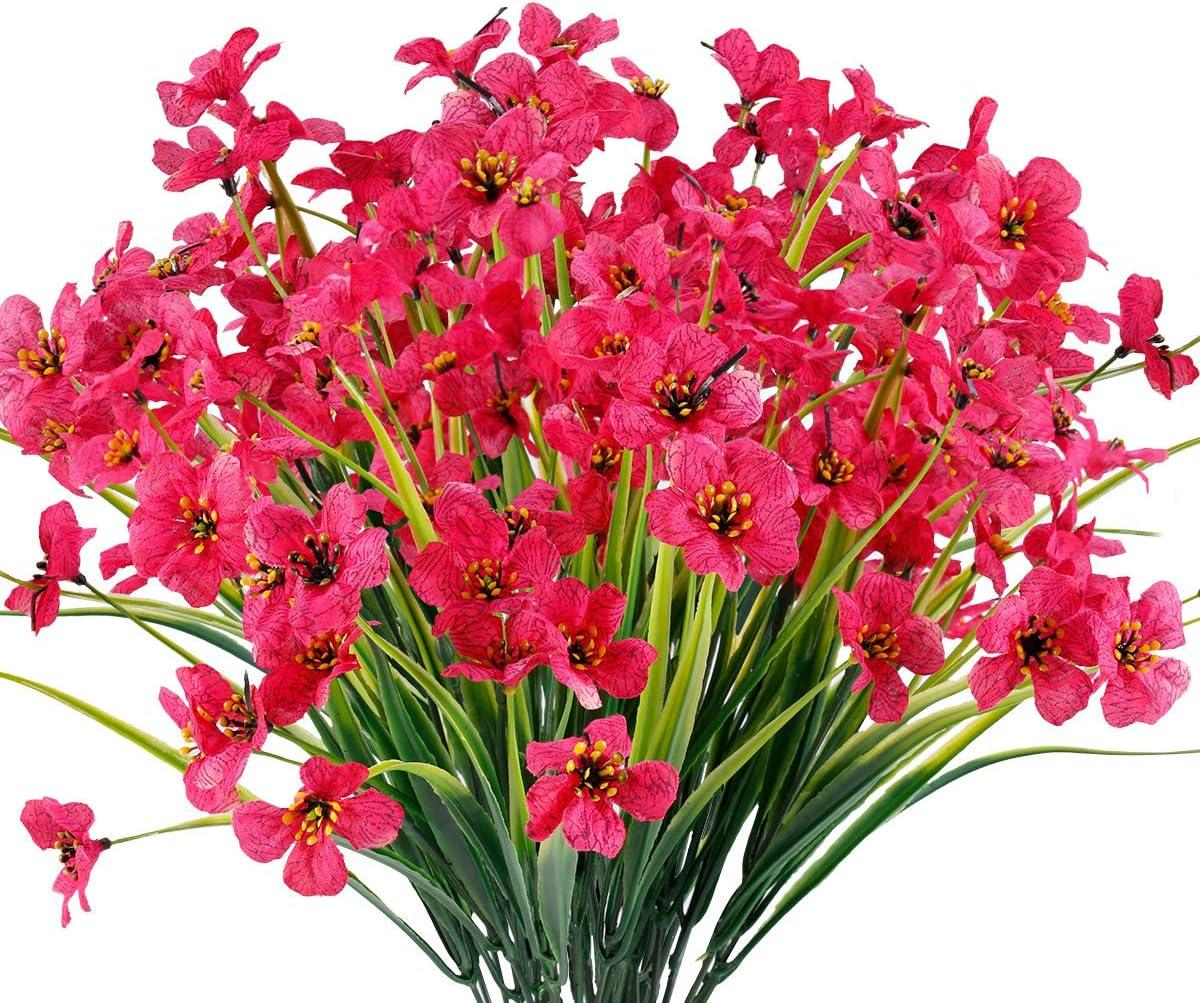 JEMONG 12 Bundles Artificial Flowers Outdoor UV Resistant Fake Flowers No Fade Faux Plastic Plants Garden Porch Window Box Decorating (Fushia)