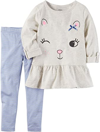 f3b59f92f2b79 Amazon.com: Carter's Baby Girls' 2 Piece Peplum Tunic & Leggings Set ...