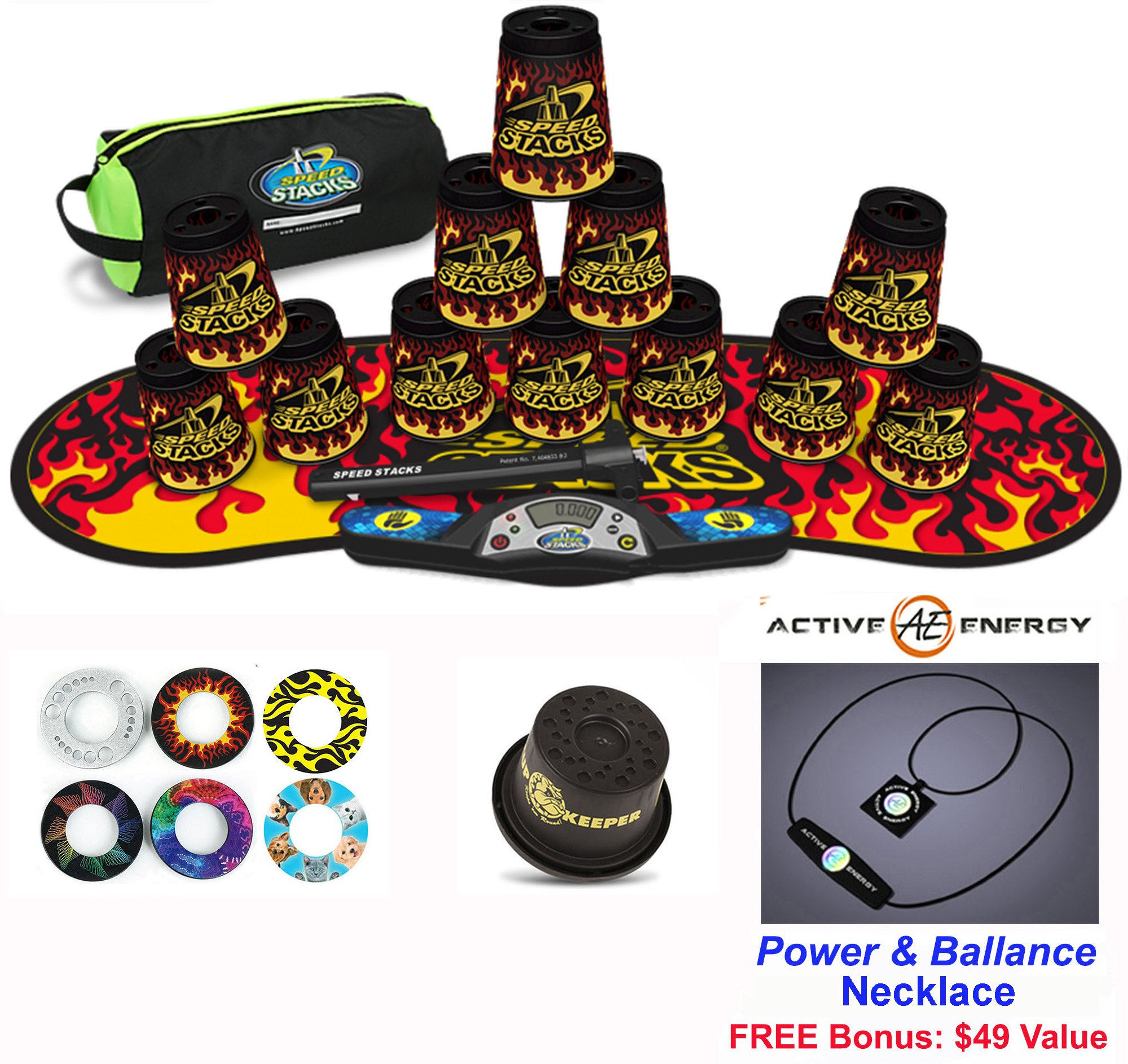 Speed Stacks Combo Set 'The Works'': 12 BLACK FLAME 4'' Cups & Gen 3 Mat, G4 Pro Timer, Cup Keeper, Stem, Gear Bag + Active Energy Necklace