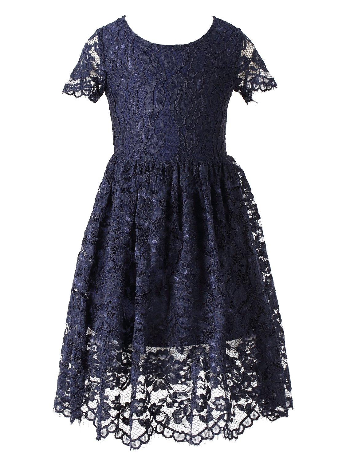Happy Rose Short Sleeve Lace Flower Girl Dress Navy Blue 8 Years