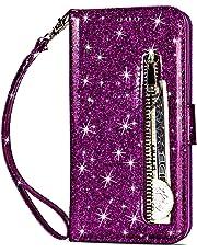 Artfeel Reißverschluss Brieftasche Hülle für Huawei Mate 20, Bling Glitzer Leder Handyhülle mit Kartenhalter,Flip Magnetverschluss Stand Schutzhülle mit Tasche und Handschlaufe-Lila