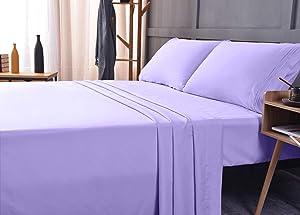 Bamboo Ultra Soft Sheet Set – Deep Pocket, Machine Washable, Wrinkle and Shrink Resistant, Hypoallergenic, Cooling, Fade Resistant Bedding Sheet – 4 Piece Set (Queen, Lavender)