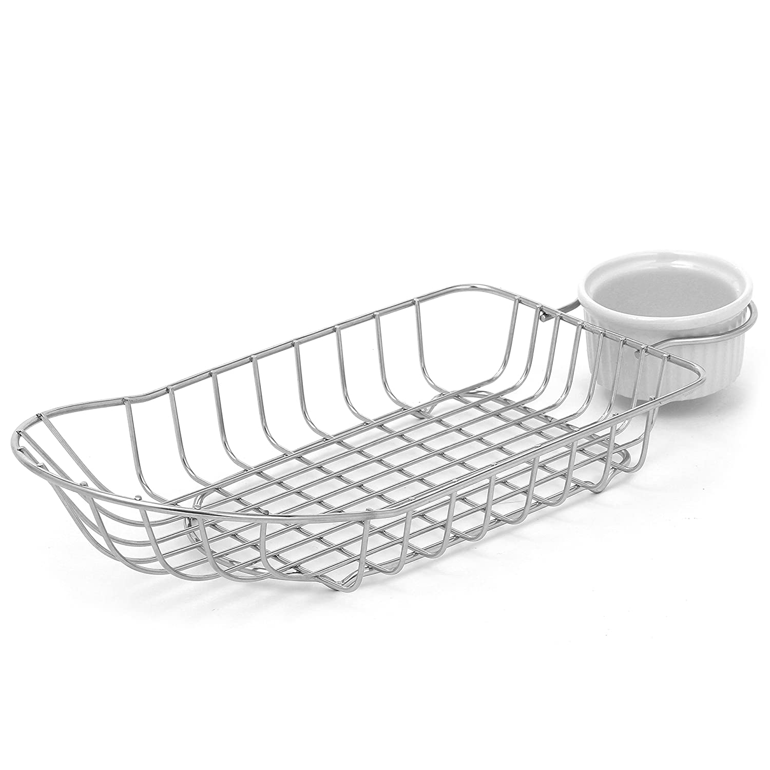 Stainless Steel French Fries Serving Basket with Ceramic Ramekin MyGift TB-KIT0804SIL