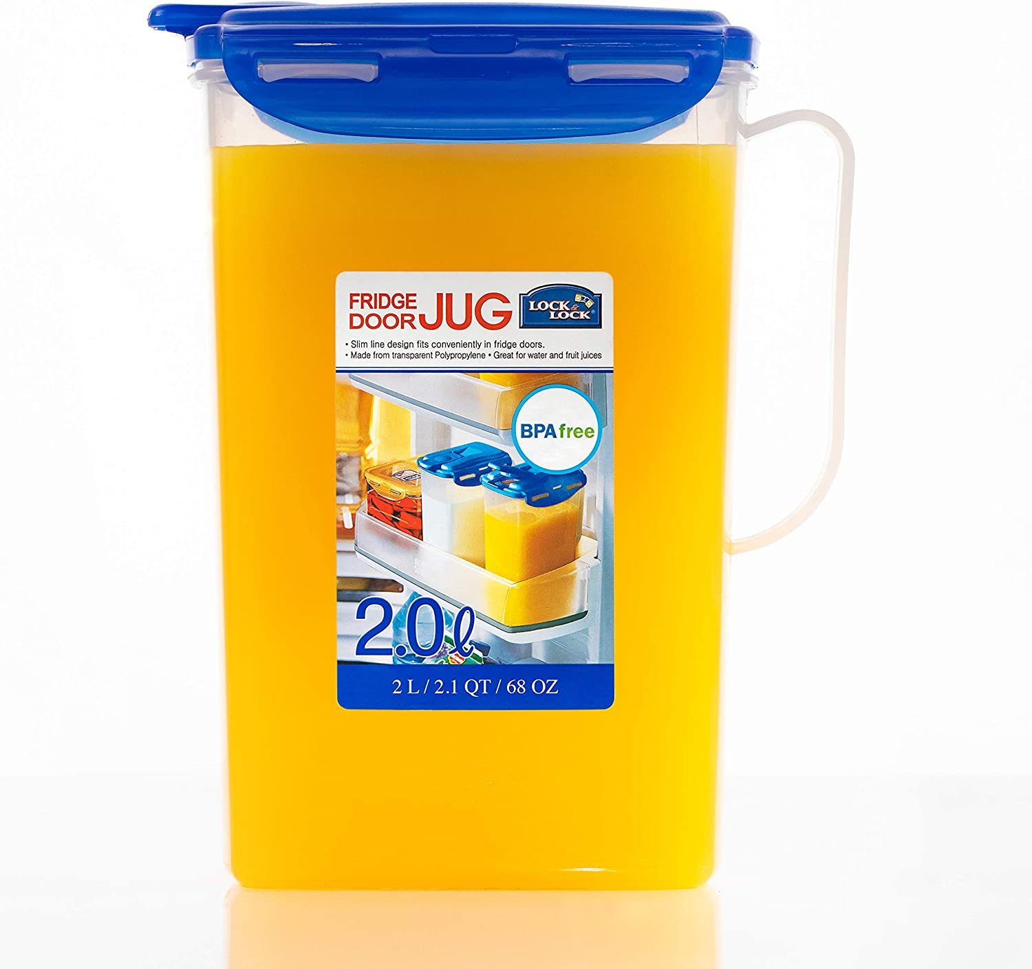 LOCK & LOCK Aqua Fridge Door Water Jug with Handle BPA Free Plastic Pitcher with Flip Top Lid Perfect for Making Teas and Juices, 2 Quarts, Blue