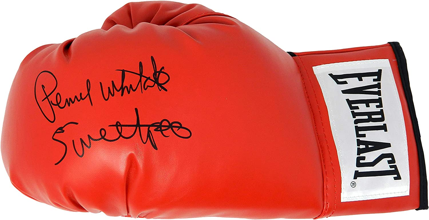 Autographed Boxing Gloves Pernell Whitaker Signed Everlast Red Boxing Glove w//Sweet Pea
