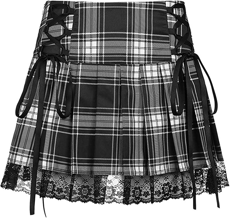 Zukmuk Ladies Summer Skirt A Version Pleated Skirt Lace Waistline Retro Plaid Print Summer Dress High Waist Skirt Lace Short Skirt (Style G, Medium): Amazon.co.uk: Clothing