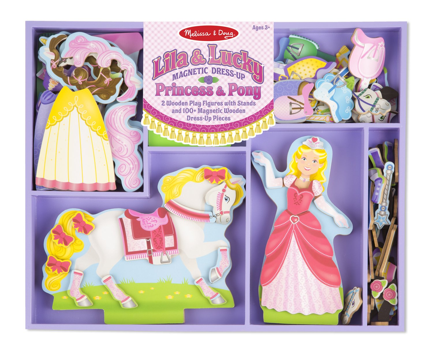 Melissa & Doug Lila and Lucky Wooden Dress-Up Princess Doll and Horse With Magnetic Accessories (108 pcs) by Melissa & Doug
