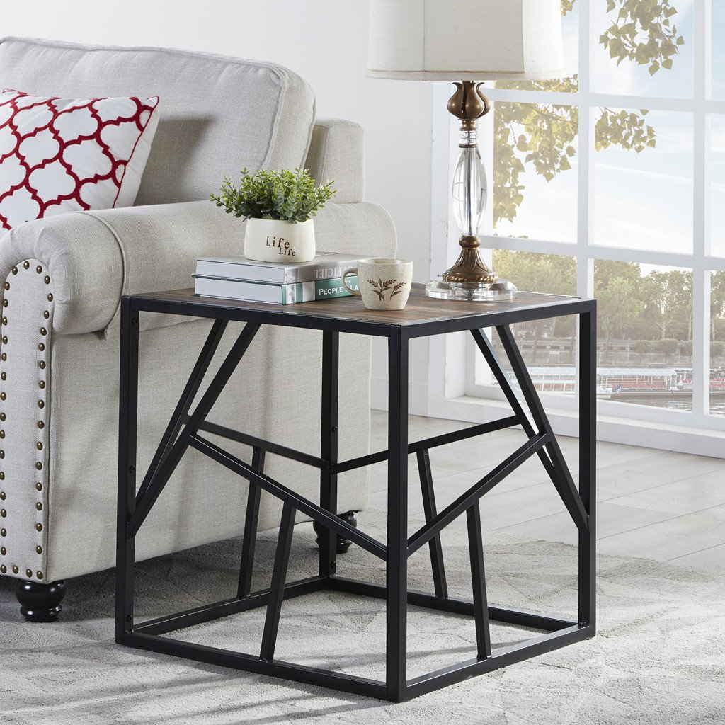 "Homissue 21.7""Height Vintage Industrial End Table with Criss-cross Design, Square Accent Table/Night Stand, Decorative for Bedroom and Living Room, Retro Brown Finish"