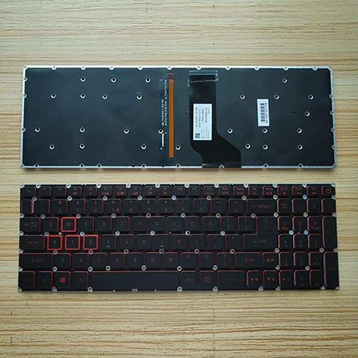 KB US Layout Notebook Keyboard for Acer Nitro 5 AN515 AN515-51 AN515-52 AN515-53 Series Laptop P/N: N17C1 N16C7 Series red Font, with Backlight, Frameless
