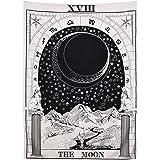 """Tapiz """"Tarot"""" de Amknn, con imagen de la luna, las estrellas y el sol; para colgar en la pared"""