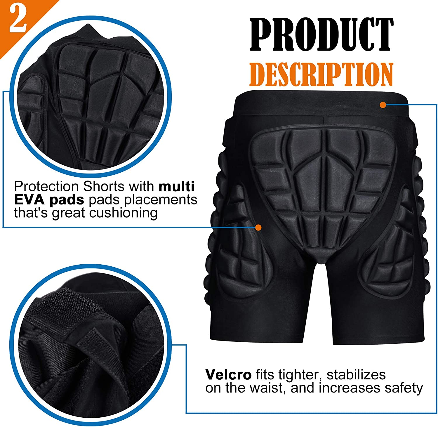 SIYWINA Hip Protection 3D Padded Shorts Cycling Short Protection Shorts for Men Women Lightweight Protective Gear for Skating