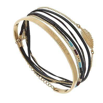 grand choix de 61a88 24035 Bracelet multitours noir et jonc gravé (doré), Omacoo ...