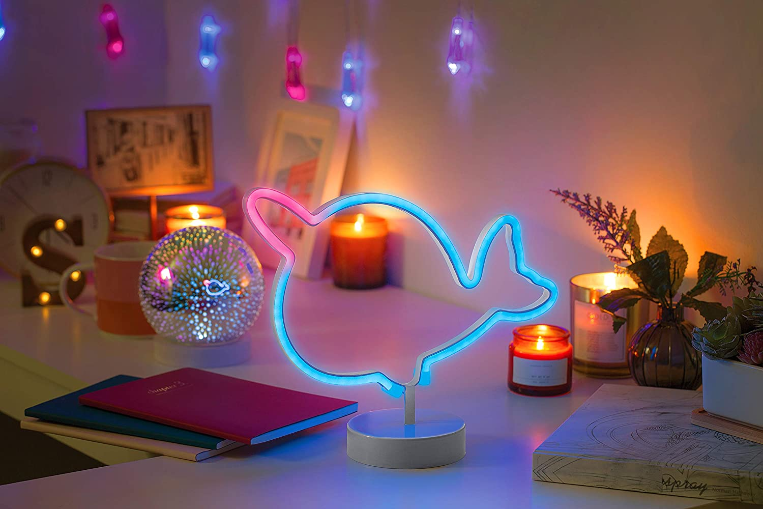 """Merkury Innovations 12"""" Narwhal Multi-Color LED Lights Neon Signs Mood Light with Pedestal, Battery Operated Night Light Bedroom Decorations Lamp Home Party Decorations & Home Decor, Multi-Color"""