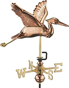 Good Directions 8805PR Blue Heron Cottage Weathervane, Polished Copper with Roof Mount