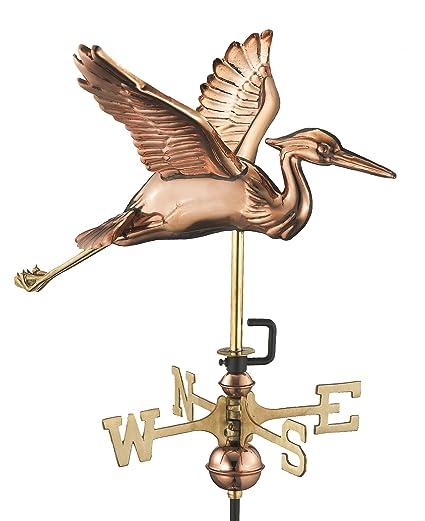 Good Directions Blue Heron Garden Weathervane With Garden Pole, Pure Copper