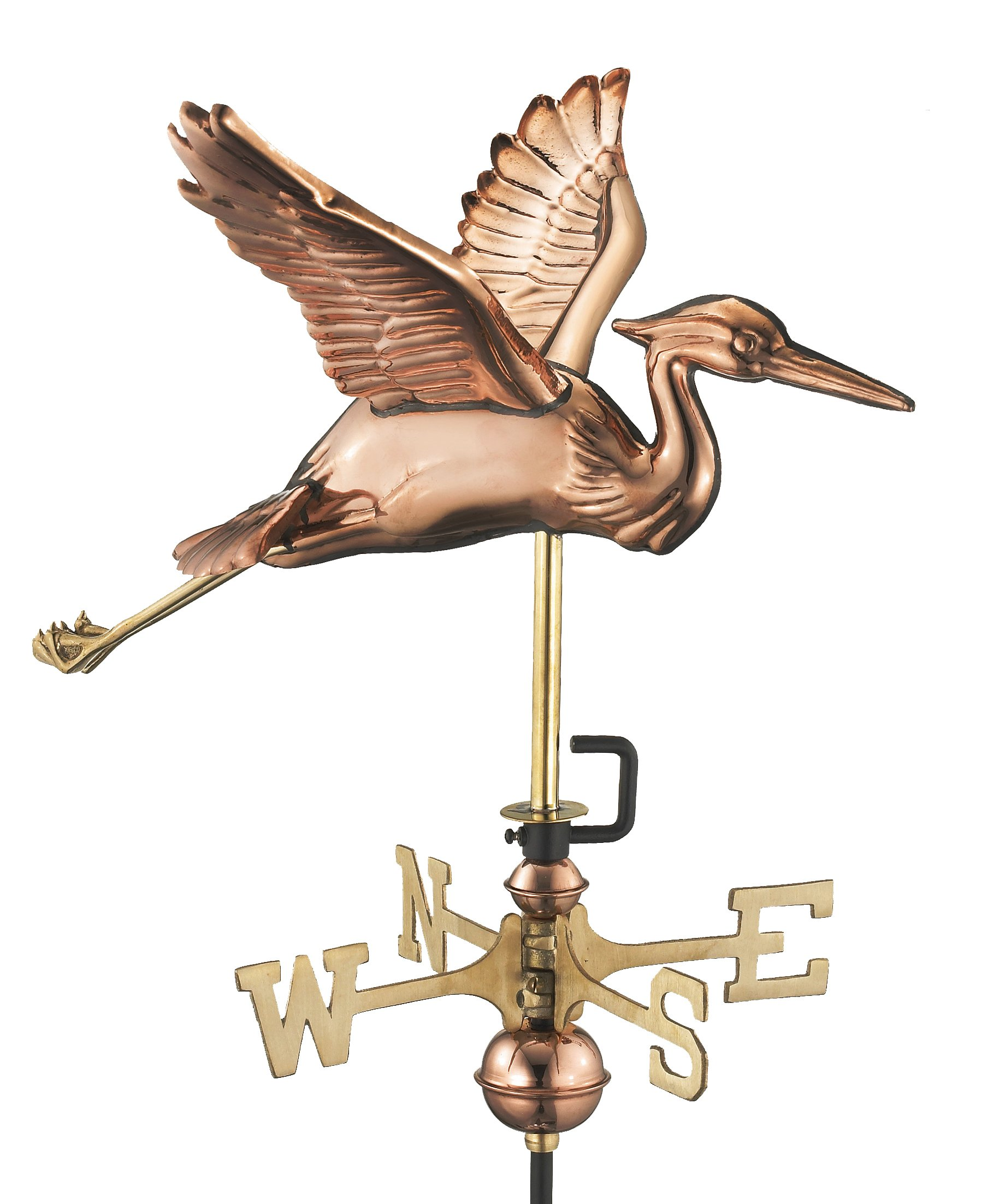 Good Directions Blue Heron Cottage Weathervane with Roof Mount, Pure Copper