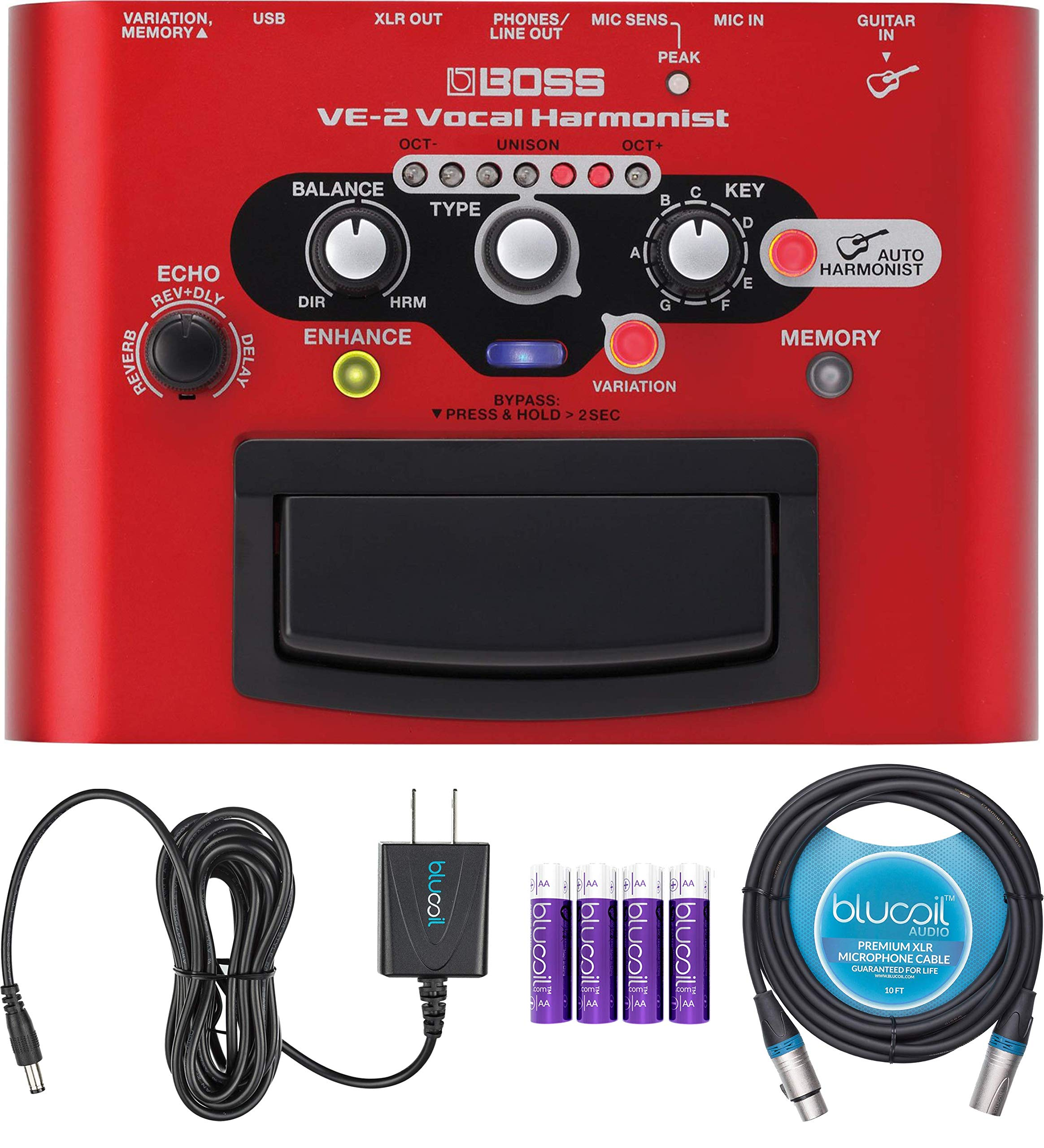 BOSS VE-2 Vocal Harmonist Pedal Bundle with Blucoil Slim 9V 670ma Power Supply AC Adapter, 10-FT Balanced XLR Cable, and 4 AA Batteries by blucoil
