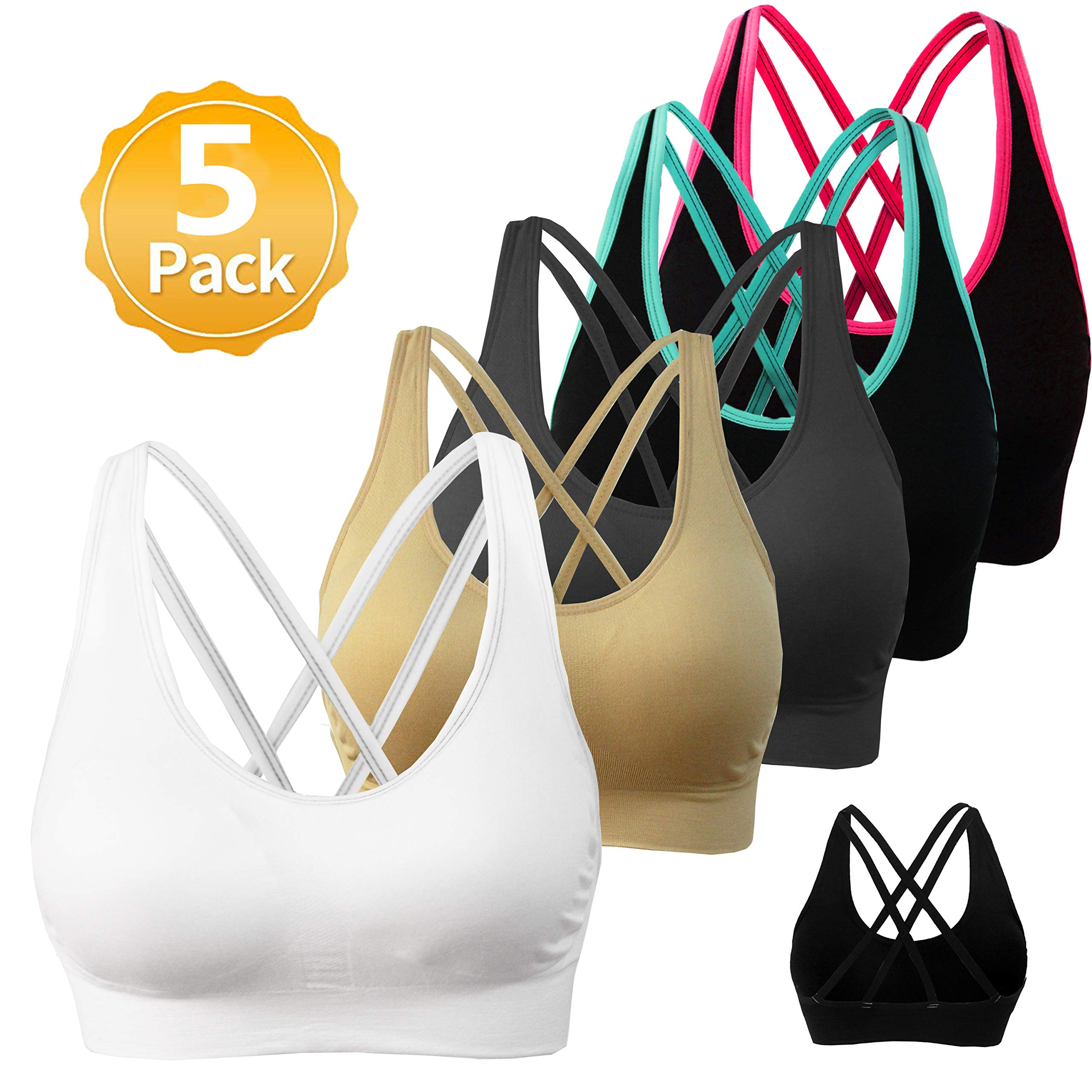 AKAMC Women's Removable Padded Sports Bras Medium Support Workout Yoga Bra 5 Pack Style-2D,2,Small