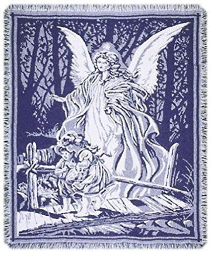 Amazon Simply Home Guardian Angel And Children Crossing Bridge Best Guardian Angel Throw Blanket