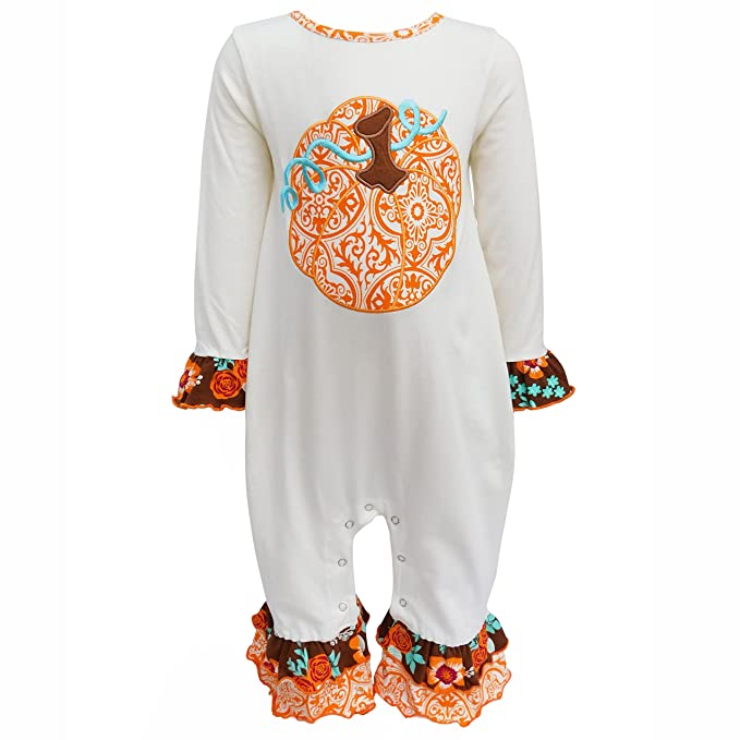62f595fa00e0 AnnLoren Baby Girls 6-12 mo Boutique Pumpkin Patch Autumn Thanksgiving  Romper