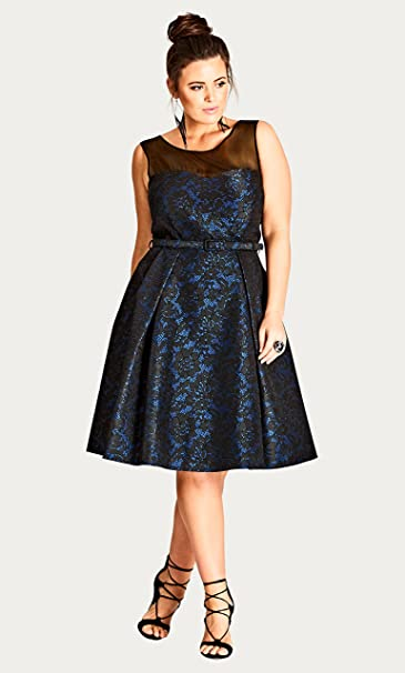 06629b93044 City Chic Womens Plus After Dark Floral Lace Sleeveless Cocktail Dress Blue  20W  Amazon.ca  Clothing   Accessories