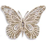 The Key West Tropical Butterfly, Rustic Metal Wall Decor, Antiqued Finish, Distressed Weathered Beige, Artisinal Hand Crafted Iron, 8 5/8 x 7 1/2 Inches, By Whole House Worlds