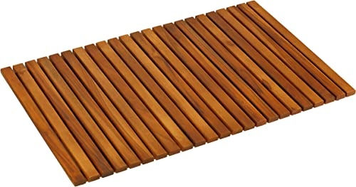 Bare Decor Nori Shower, Spa, Door Mat in Solid Teak Wood and Oiled Finish, Large 31.5 x 19.5