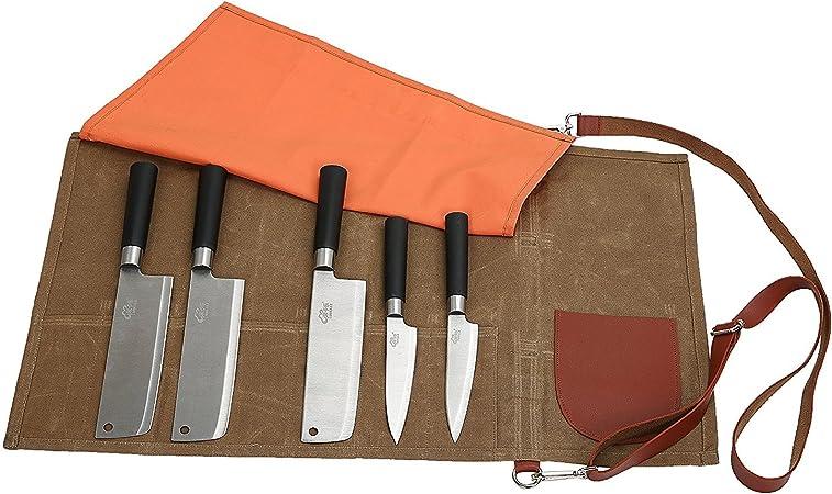 Fushida Estuche para cuchillos de chef, 8 compartimentos, resistente al agua, lona encerada, bolsa de almacenamiento para cocina, camping, marrón