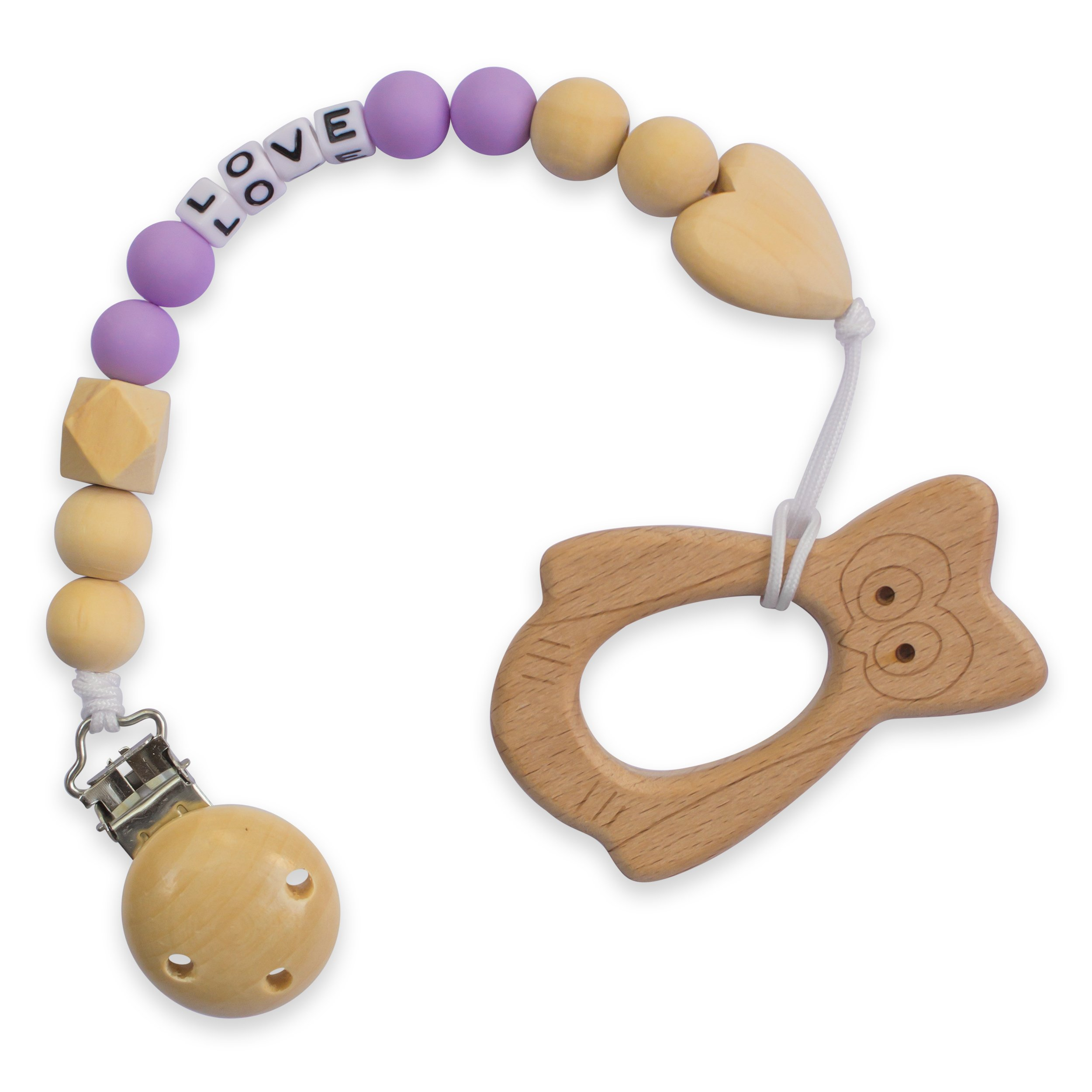 ANPEI ChewChew Buds Organic Wood Teether Toy & Chewable Beads Wooden Teething Pacifier Clip | Natural and Effective Teething Pain Relief for Babies & Toddlers – Owl