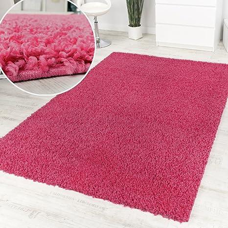 Alfombra Pelo Alto Y Largo Shaggy Rosa Monocolor Promoción A Un Precio Increíble, tamaño: