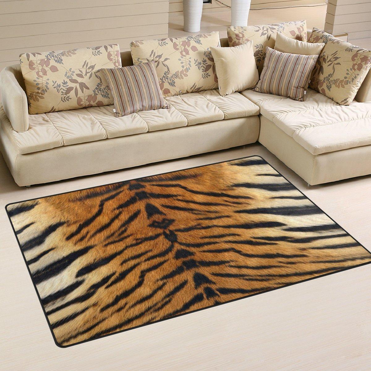 Naanle Animal Print Area Rug 3'x5', Tiger Print Polyester Area Rug Mat Living Dining Dorm Room Bedroom Home Decorative