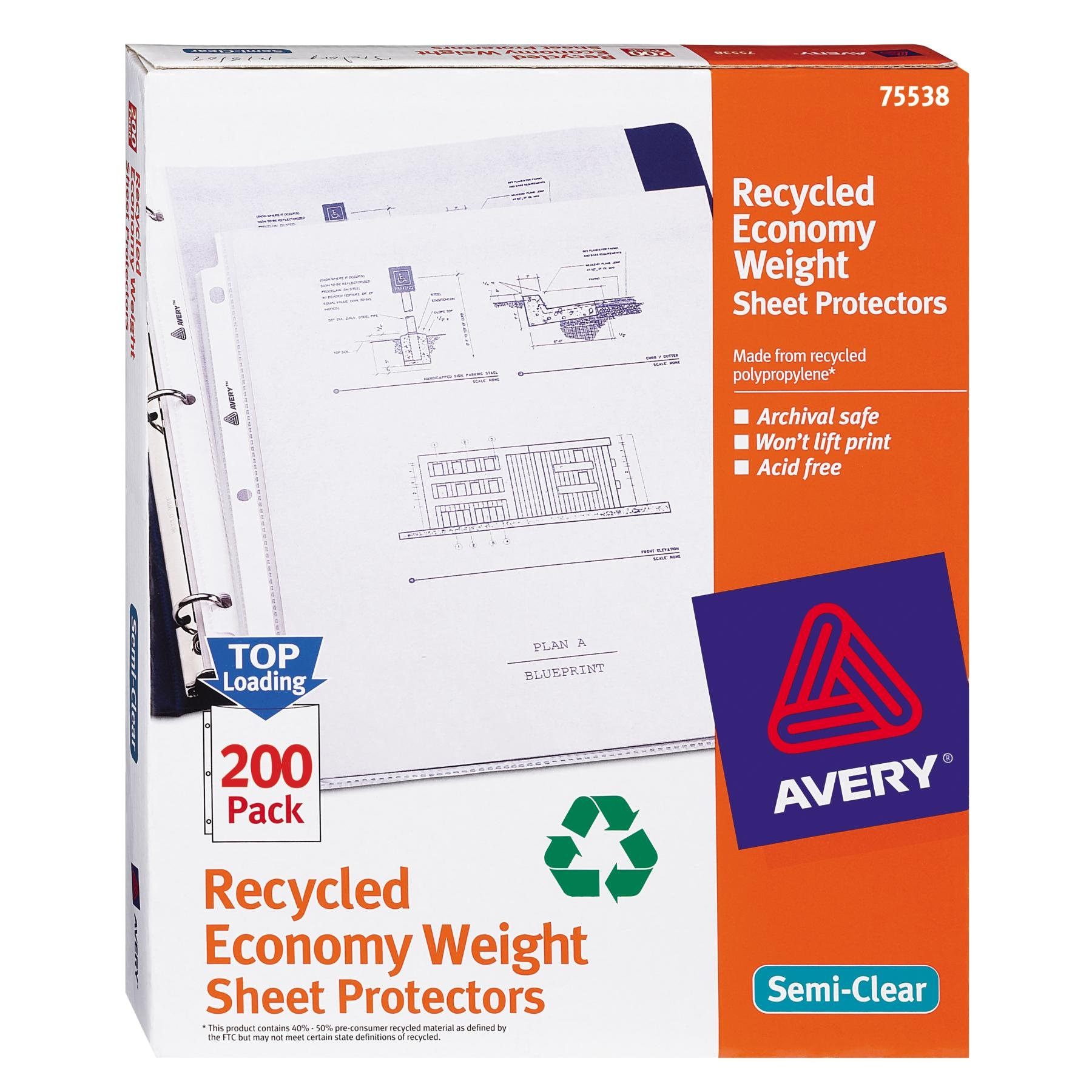 Avery Recycled Economy Weight Sheet Protectors, Top-Load, 8.5 x 11 Inches, Box of 200 (75538)