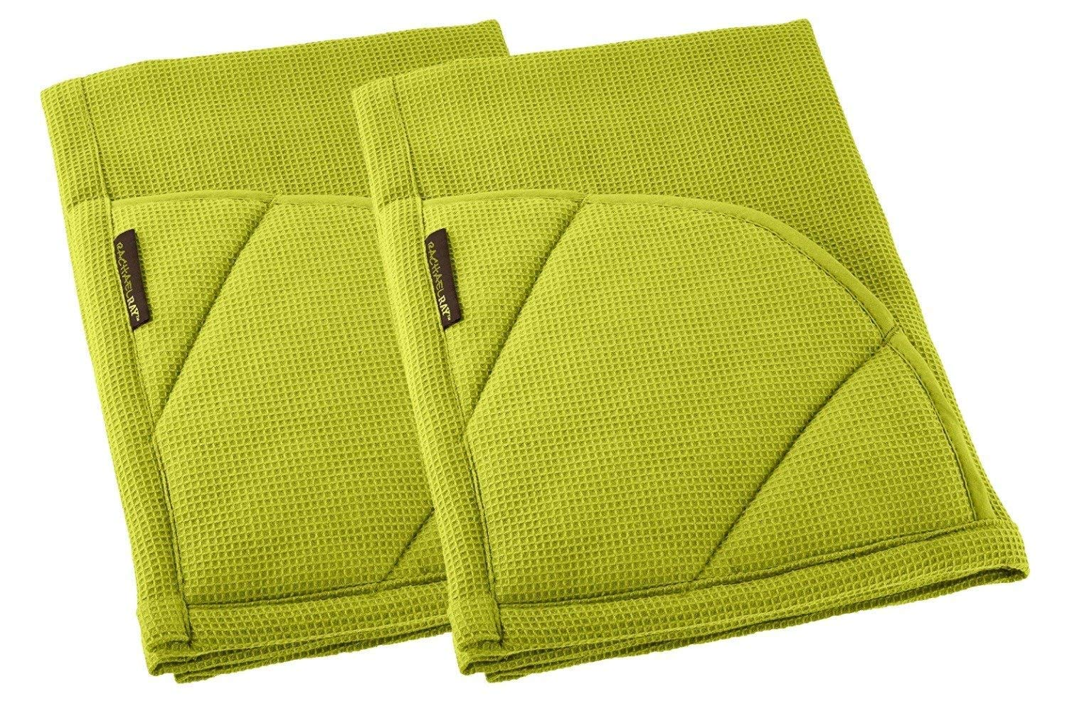 Rachael Ray Kitchen Towel and Oven Glove Moppine – A 2-in-1 Ultra Absorbent Kitchen Towel with Heat Resistant Pot-Holder Padded Pockets to Handle Hot Cookware and Bakeware - Celery Green/Pack of 2