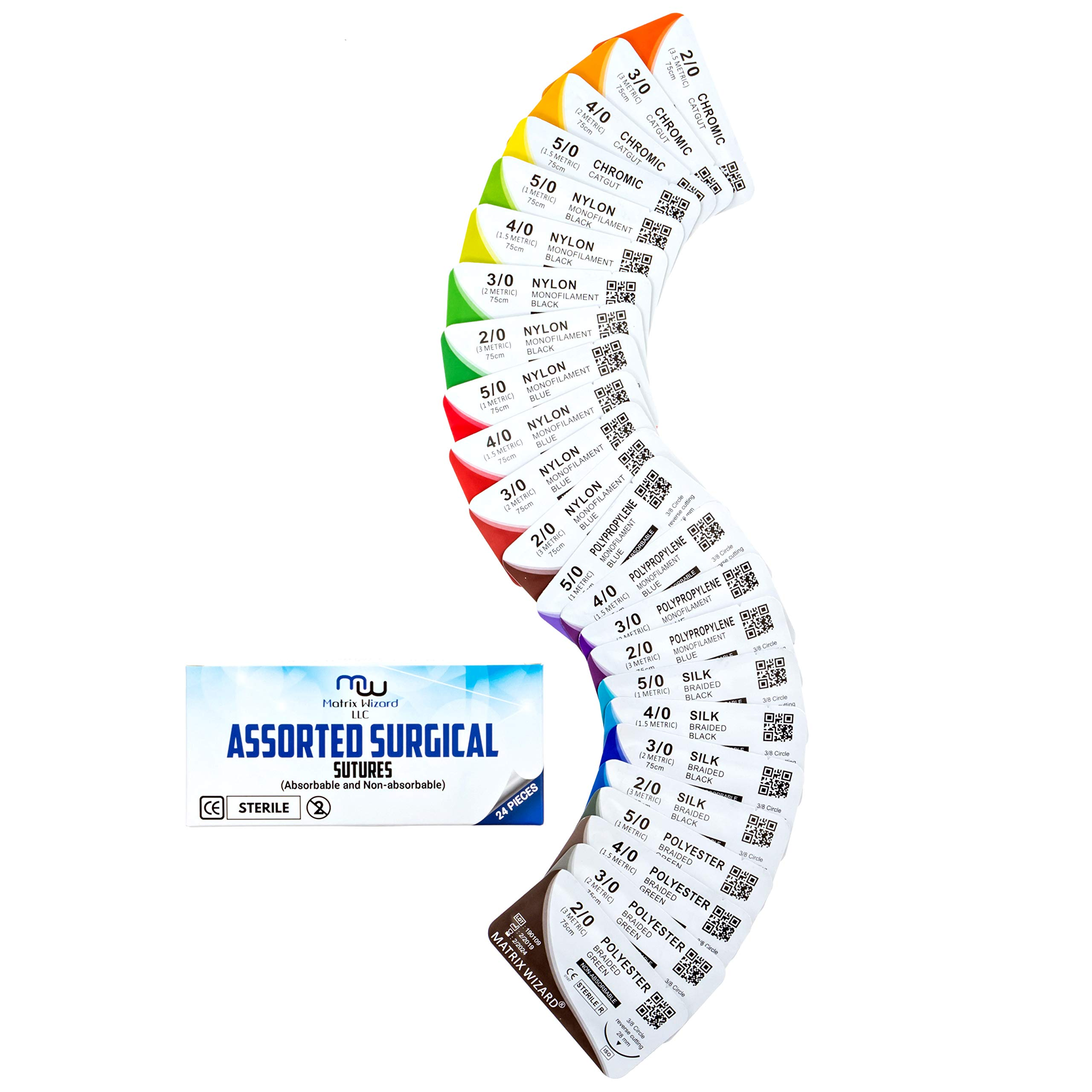 Mixed Sutures Thread with Needle (Absorbable: Chromic Catgut; Non-Absorbable: Nylon, Silk, Polyester, Polypropylene) - Surgical Wound Practice Kit, Emergency First Aid Demo (2-0, 3-0, 4-0, 5-0) 24Pk by Matrix Wizard (Image #10)