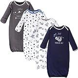 Hudson Baby Unisex Baby Cotton Gowns, Little Explorer 4-Pack, 0-6 Months