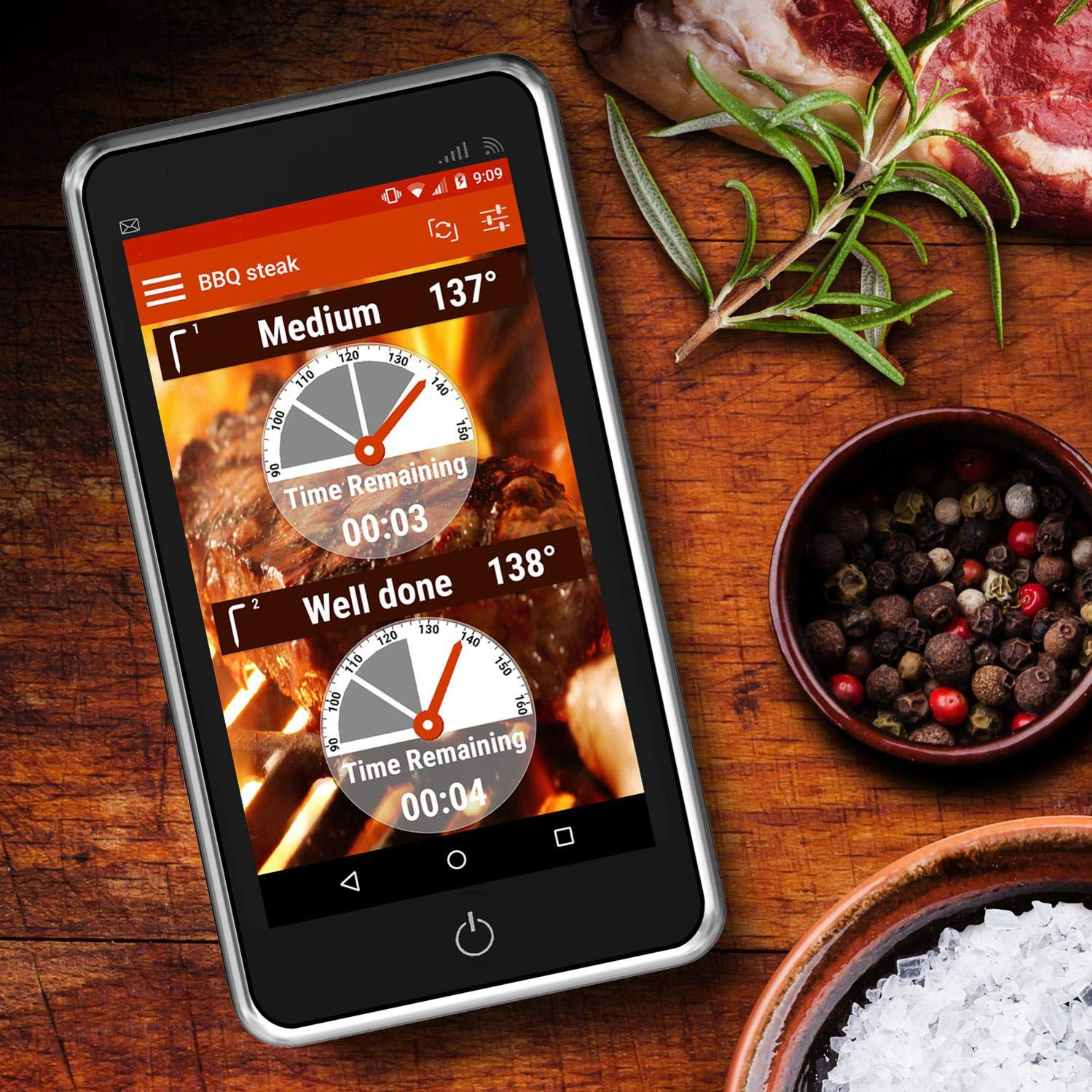 iChef ET-736 Wireless WiFi Thermometer. Dual Probe Meat Thermometer for Phones and Tablets, Android, Apple iOS and Kindle Fire Compatible. Monitors Food Within Your Wifi Network Range