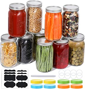 Aozita 8 Pcs Wide Mouth Mason Jars 32 Oz, Large Canning Jars with Lids and Bands, Colored Plastic Jar Lids, Blank Labels and Chalk Marker, Leak-Proof Airtight Lids for Food Storage, Canning, Favors, Decorating Jar