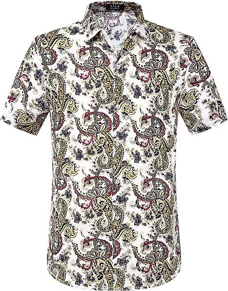 Fubotevic Mens Lapel Gentlemen Stylish Long Sleeve Button Down Slim Shirt