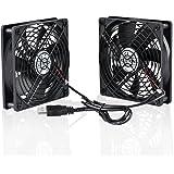 ELUTENG 120mm Fan 2 in 1 Dual USB Fan Computer Cooling Ventilator 12cm DC 5V for Laptop / Playstaion / Xbox One / Mini PC / Router / DVR Radiator Fan